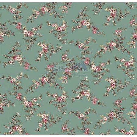 Tecido Floral Di Rose Cor - 01 (Verde), 100% Algodão, Unid. 50cm x 1,50mt