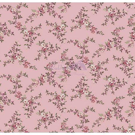 Tecido Floral Di Rose Cor - 05 (Salmão), 100% Algodão, Unid. 50cm x 1,50mt