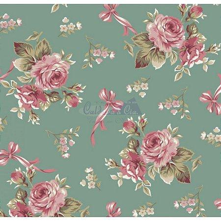 Tecido Floral Fiore Cor - 01 (Verde), 100% Algodão, Unid. 50cm x 1,50mt