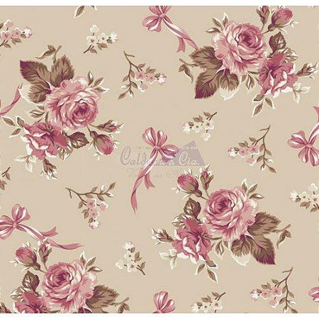 Tecido Floral Fiore Cor - 03 (Bege), 100% Algodão, Unid. 50cm x 1,50mt