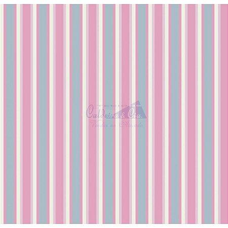 Tecido Listrado Toscana Cor - 02 (Azul com Rosa), 100% Algodão, Unid. 50cm x 1,50mt