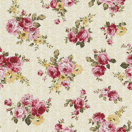 Tricoline Floral Arabesque Creme, 100% Algodão, Unid. 50cm x 1,50mt