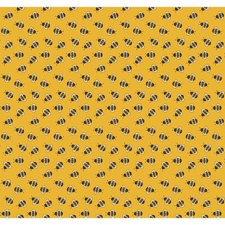 Tricoline Mini Bee Mostarda, 100% Algodão, Unid. 50cm x 1,50mt