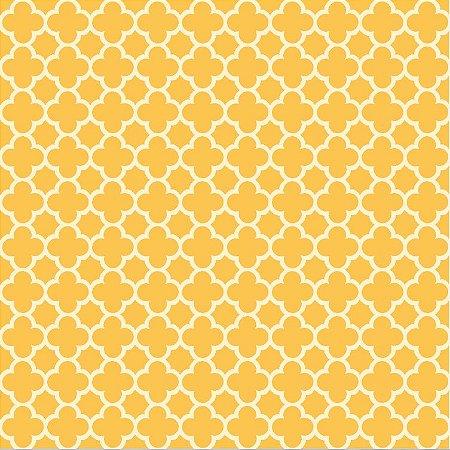 Tricoline Neutro Jardim de Borboletas (Amarelo), 100% Algodão, Unid. 50cm x 1,50mt