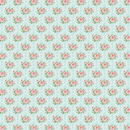 Tricoline Rosinhas Moldura Damask, 100% Algodão, Unid. 50cm x 1,50mt