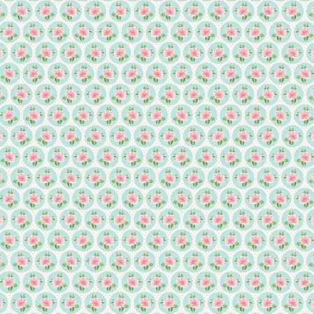 Tricoline Rosinhas no Circulo, 100% Algodão, Unid. 50cm x 1,50mt