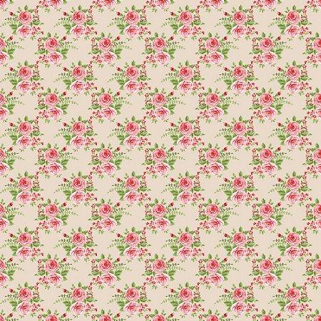 Tricoline Rosas Grandes Fundo Creme, 100% Algodão, Unid. 50cm x 1,50mt