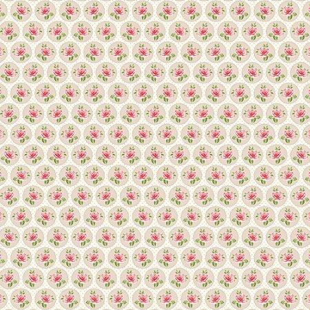 Tricoline Rosinhas no Círculo Creme, 100% Algodão, Unid. 50cm x 1,50mt