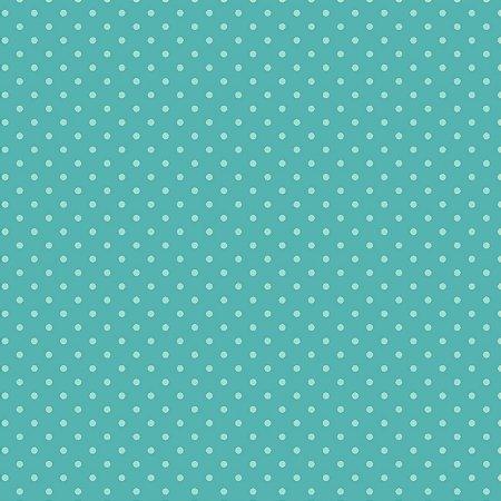 Tricoline Poá Tom Tom (Azul Turquesa) - 100% Algodão, Unid. 50cm x 1,50mt
