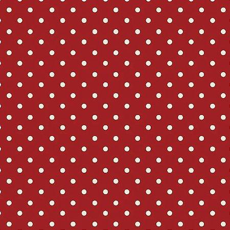 Tricoline Poá Fux. Vermelho, 100% Algodão, Unid. 50cm x 1,50mt