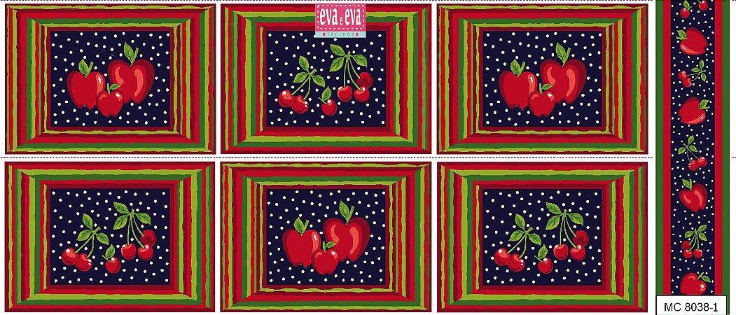 Tricoline Painel Maçãs e Cerejas (Marinho), 100% Algodão, Unid. 60cm x 1,50mt