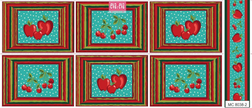 Tricoline Painel Maçãs e Cerejas (Verde), 100% Algodão, Unid. 60cm x 1,50mt