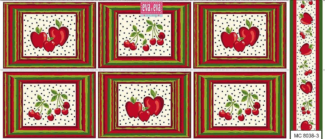 Tricoline Painel Maçãs e Cerejas (Claro), 100% Algodão, Unid. 60cm x 1,50mt