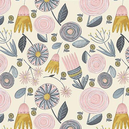 Tricoline Floral Garden, 100% Algodão, Unid. 50cm x 1,50mt