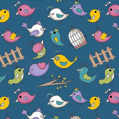 Tricoline Mini Birds Azul, 100% Algodão, Unid. 50cm x 1,50mt