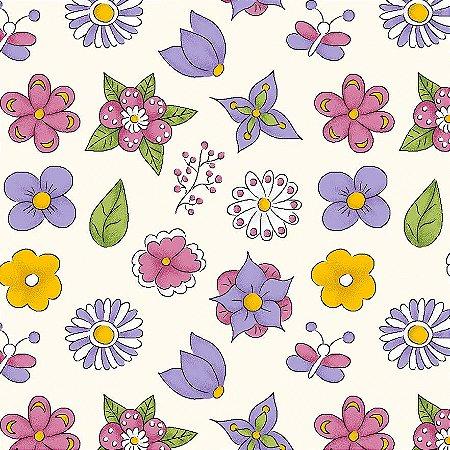 Tricoline Mini Flower Creme, 100% Algodão, Unid. 50cm x 1,50mt