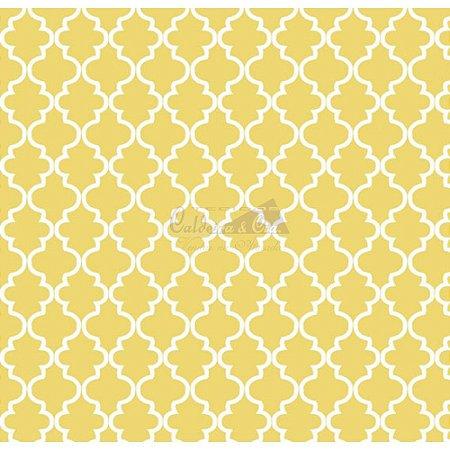 Tricoline Estampado Ana Cor - 02 (Amarelo), 100% Algodão, Unid. 50cm x 1,50mt