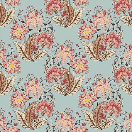 Tricoline Floral Jacobean Acqua, 100% Algodão, Unid. 50cm x 1,50mt