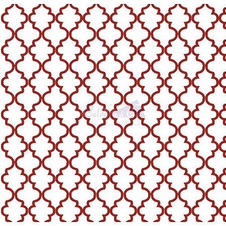 Tricoline Estampado Ana Cor - 12 (Branco Com Vermelho), 100% Algodão, Unid. 50cm x 1,50mt