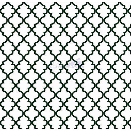 Tricoline Estampado Ana Cor - 14 (Branco Com Preto), 100% Algodão, Unid. 50cm x 1,50mt
