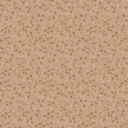 Tricoline Contornos Marrom, 100% Algodão, Unid. 50cm x 1,50mt