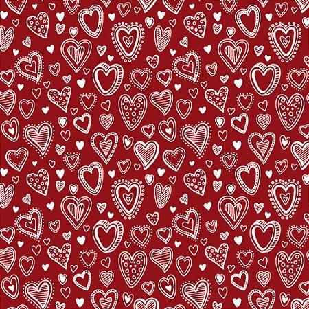 Tricoline Multi Corações Vermelho, 100% Algodão, Unid. 50cm x 1,50mt