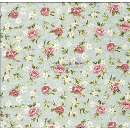 Tricoline Estampado Floral Lúcia Cor - 02 (Floral verde seco), 100% Algodão, Unid. 50cm x 1,50mt