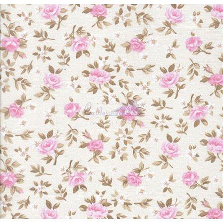 Tricoline Estampado Floral Lúcia Cor - 09 (Fundo Cru com Rosa), 100% Algodão, Unid. 50cm x 1,50mt