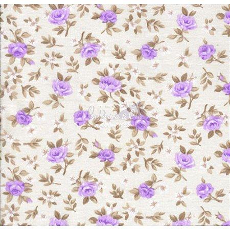 Tricoline Estampado Floral Lúcia Cor - 10 (Fundo Cru com Lilás), 100% Algodão, Unid. 50cm x 1,50mt