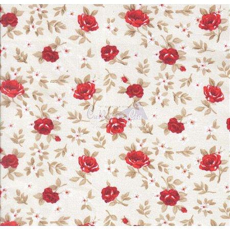 Tricoline Estampado Floral Lúcia Cor - 11 (Fundo Cru com Vermelho), 100% Algodão, Unid. 50cm x 1,50mt