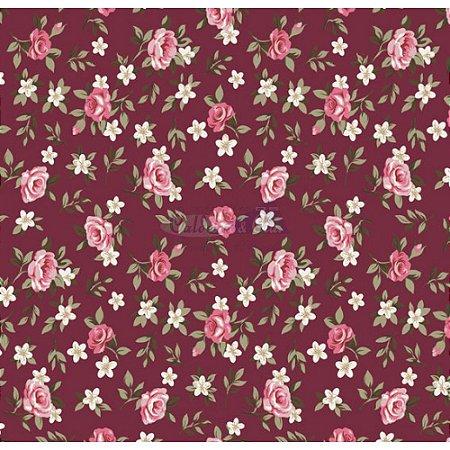 Tricoline Estampado Floral Lúcia Cor - 13 (Bôrdo), 100% Algodão, Unid. 50cm x 1,50mt