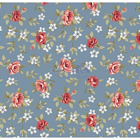 Tricoline Estampado Floral Lúcia Cor - 14 (Jeans), 100% Algodão, Unid. 50cm x 1,50mt