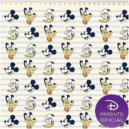 Tricoline Personagem Mickey, Donald e Pluto, 100% Algodão, Unid. 50cm x 1,50mt