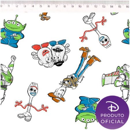 Tricoline Personagem Toy Story, 100% Algodão, Unid. 50cm x 1,50mt