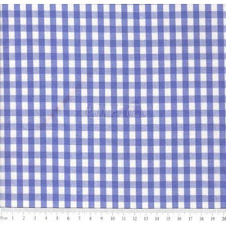 Tricoline Xadrez Azul Royal Fio Tinto, 100% Algodão, Unid. 50cm x 1,50mt