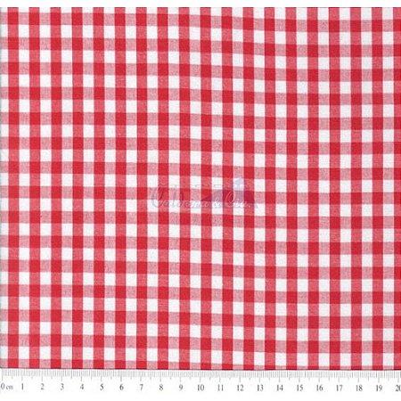 Tricoline Xadrez Vermelho Fio Tinto, 100% Algodão, Unid. 50cm x 1,50mt