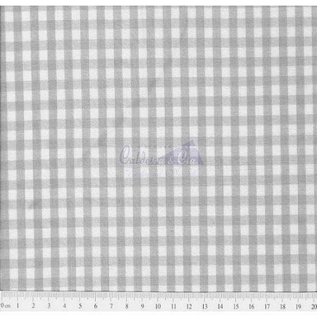 Tricoline Xadrez Cinza Fio Tinto, 100% Algodão, Unid. 50cm x 1,50mt