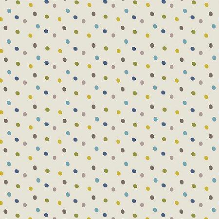 Tricoline Poá Blue Multi Dot, 100% Algodão, Unid. 50cm x 1,50mt