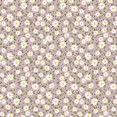 Tricoline Tiny Daisy Rosê, 100% Algodão, Unid. 50cm x 1,50mt