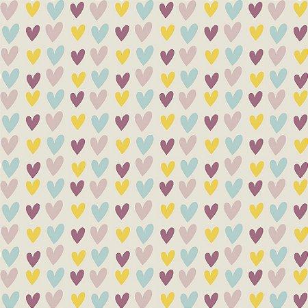 Tricoline Rose Hearts, 100% Algodão, Unid. 50cm x 1,50mt