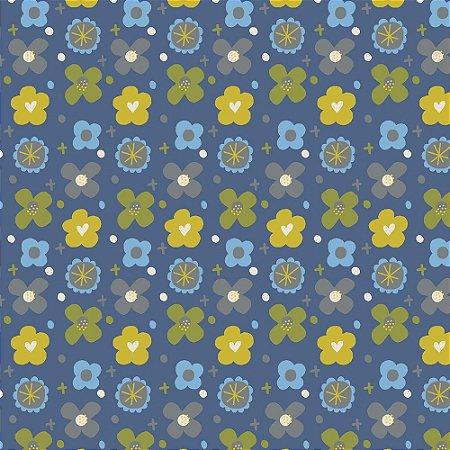 Tricoline Blue Buttons, 100% Algodão, Unid. 50cm x 1,50mt