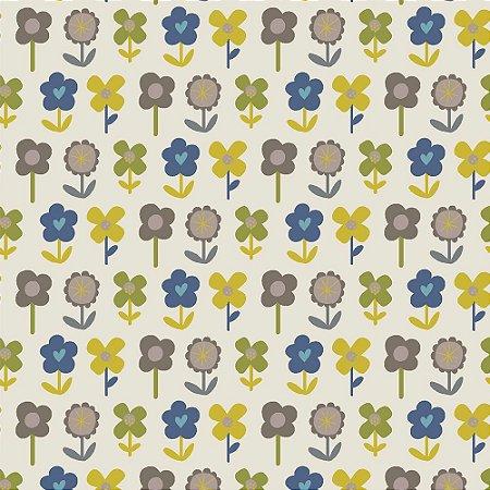 Tricoline Blue Blossom, 100% Algodão, Unid. 50cm x 1,50mt