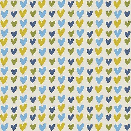 Tricoline Blue Hearts, 100% Algodão, Unid. 50cm x 1,50mt