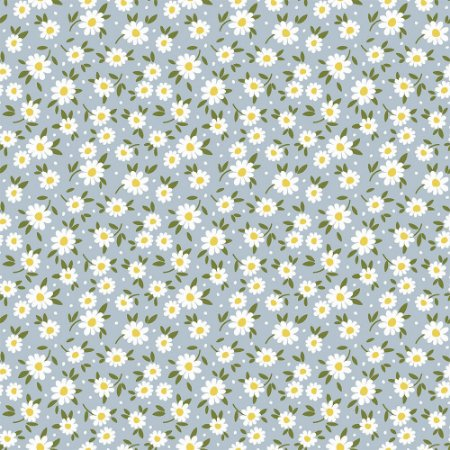 Tricoline Tiny Daisy Azul, 100% Algodão, Unid. 50cm x 1,50mt