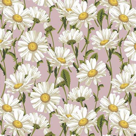 Tricoline Daisy Blossom Rosê, 100% Algodão, Unid. 50cm x 1,50mt