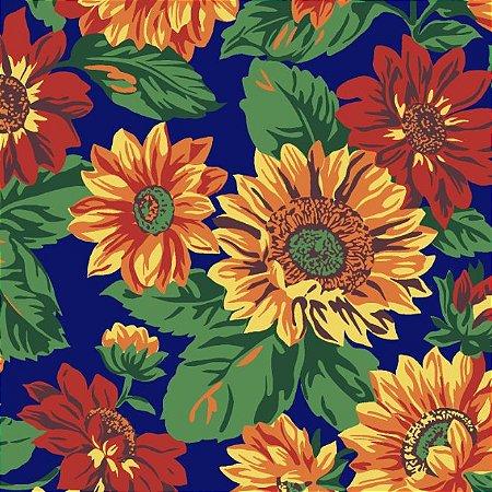 Tricoline Estampado Floral Girassol Grande Fundo Azul - 100% Algodão, Unid. 50cm x 1,50mt