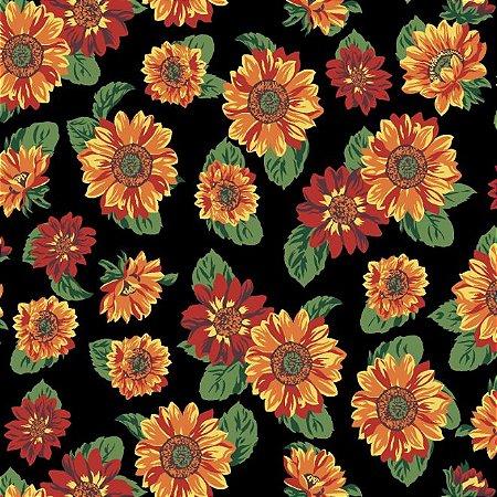 Tricoline Estampado Floral Girassol Fundo Preto - 100% Algodão, Unid. 50cm x 1,50mt