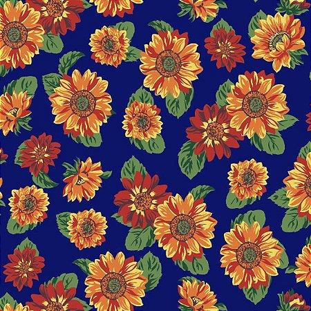 Tricoline Estampado Floral Girassol Fundo Azul - 100% Algodão, Unid. 50cm x 1,50mt