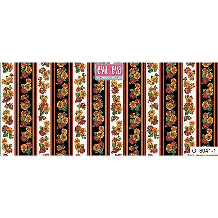 Tricoline Estampado Floral Girassol Faixas Fundo Claro - 100% Algodão, Unid. 50cm x 1,50mt