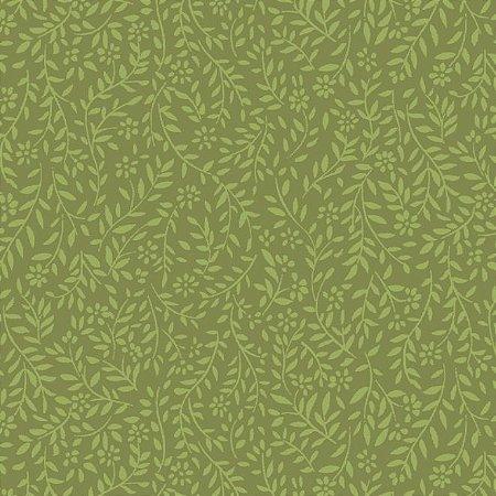 Tricoline Estampado Neutro Ramos - 100% Algodão, Unid. 50cm x 1,50mt